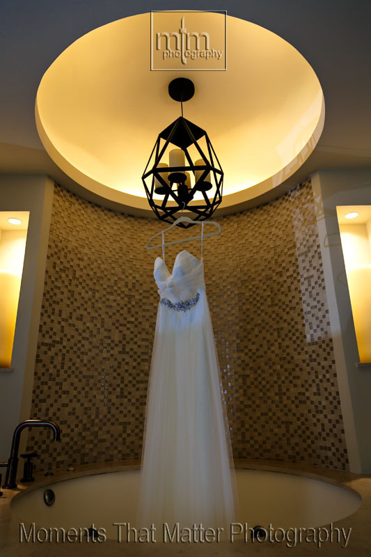 Wedding dress hung with care