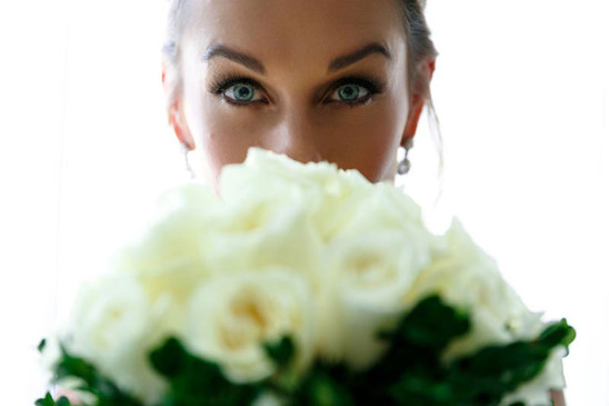 Bride Getting Ready with Flowers