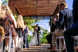 Ceremony kiss in the gazebo at Unico Riviera Maya