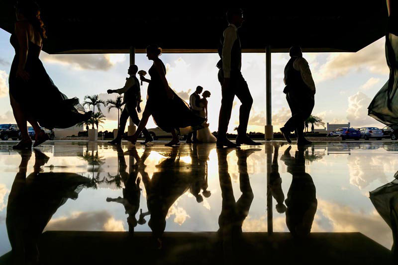 Wedding Party Reflections at Sunset