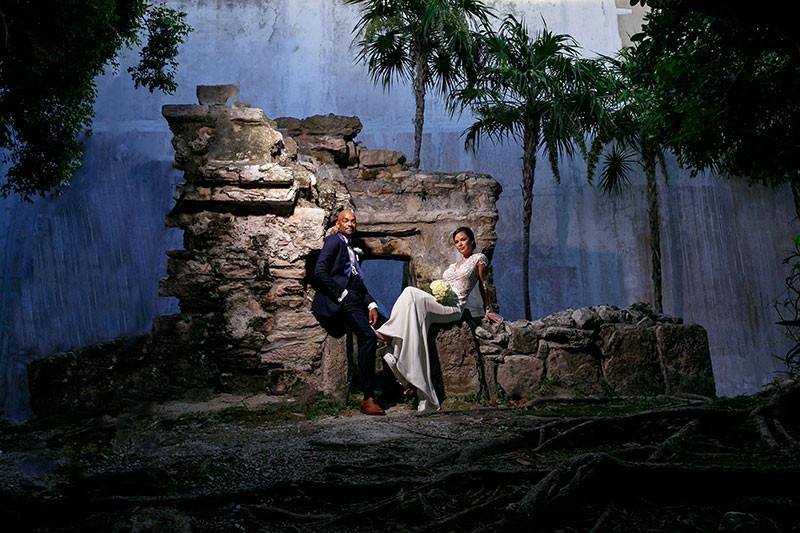 Newlyweds on Mayan Ruins