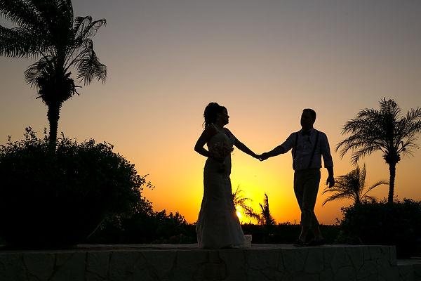 Wedding couple sunset portrait