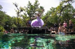 Quinceañera photography in Cenote Azul