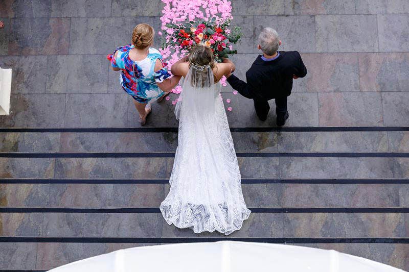 Bride walking down the isle from above