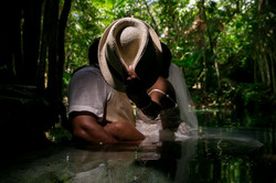 Newlywed portraits in a cenote