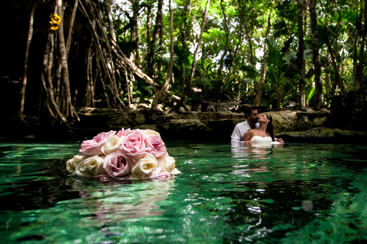 Cenote Trash the Dress Photographer