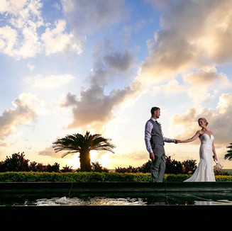 Newlyweds at Sunset in Mexico