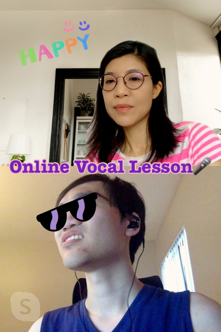 Online vocal lesson with US student