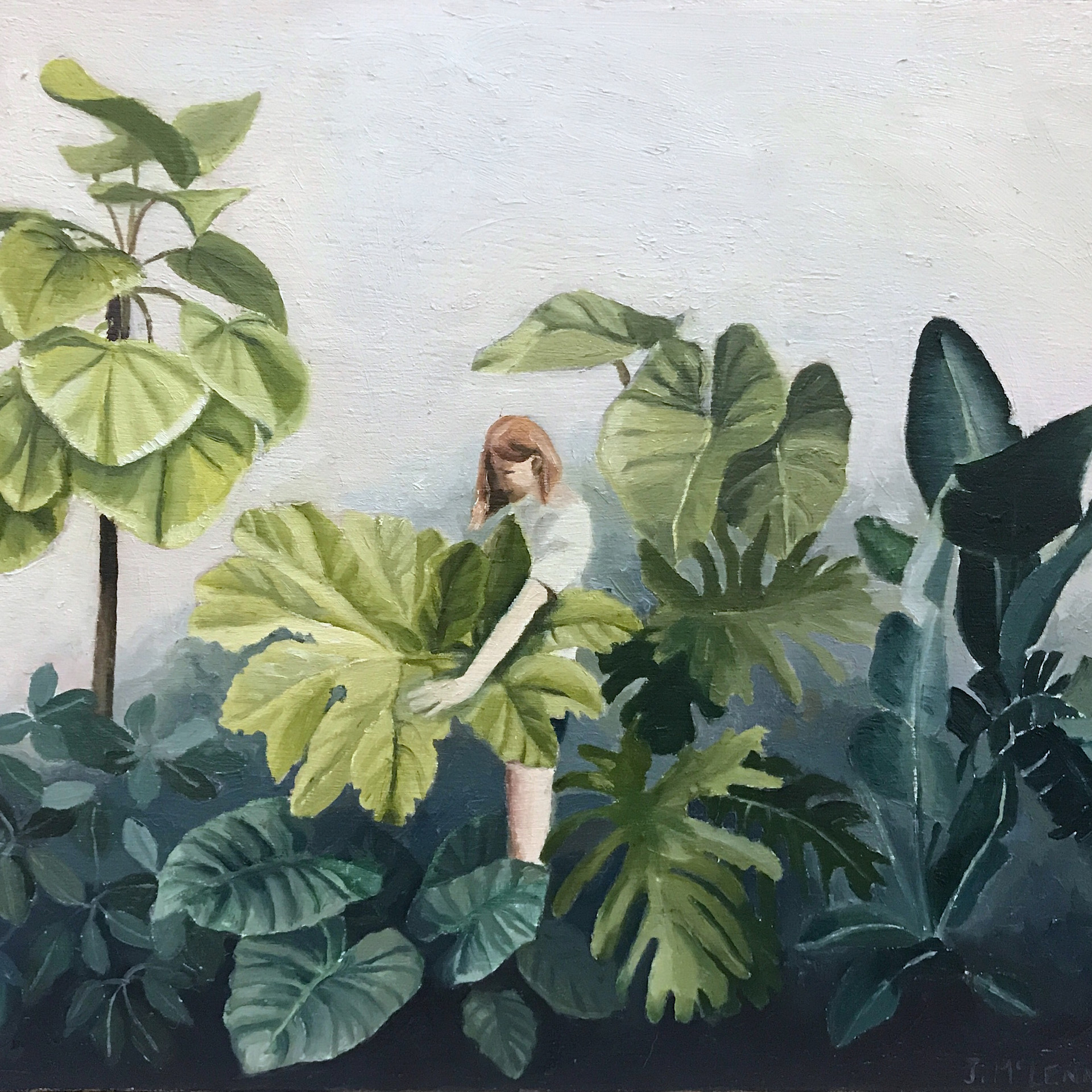 Green botanical - oil on board