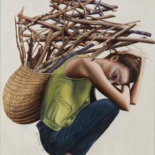 Women with pile of sticks