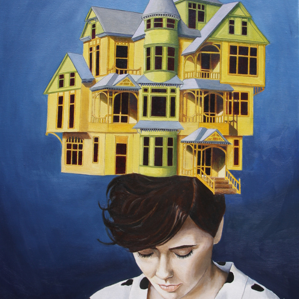 Women with house on her head