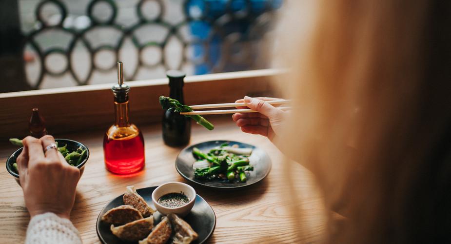 edamame, yasai gyoza, wok fried greens.j