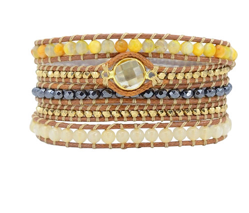 Vegan Wrap Bracelet with Crystal
