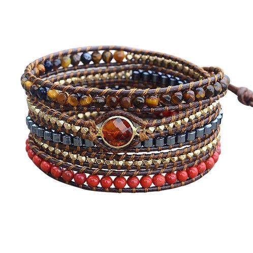 Vegan Wrap Bracelet with Semi-Precious Stones