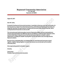 Thank you letter from the Raymond Community Association