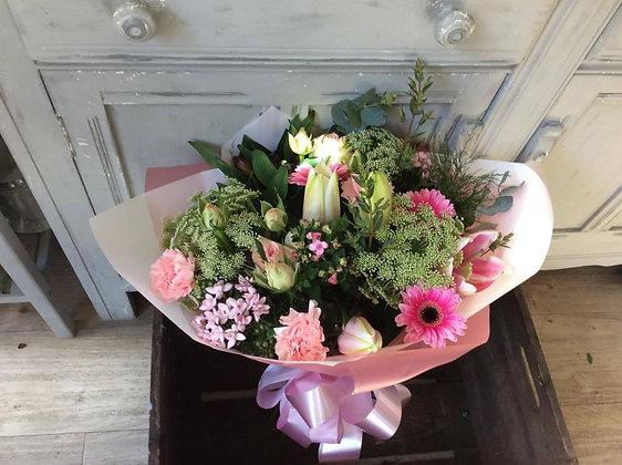 Hand tied bouquet (pink & cream)