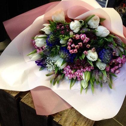 Hand tied spring flower arrangement