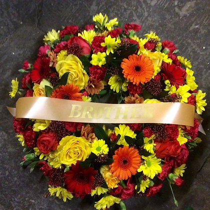 "12"" open funeral wreath"