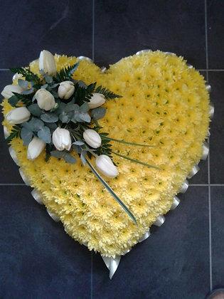 "17"" Yellow Heart Shaped Posie"
