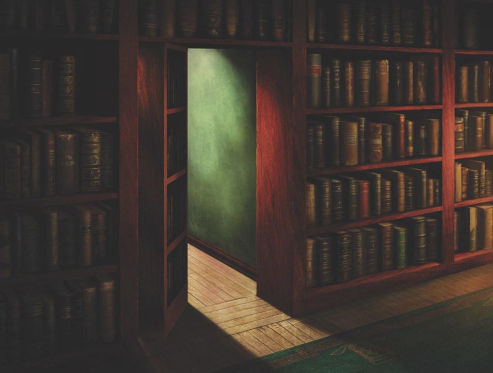 Hidden bookcase entrance
