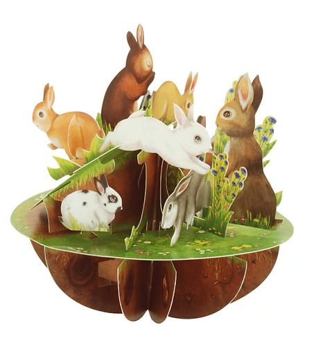 Rabbits 3-D Pirouettes Pop-up Card   Santoro London