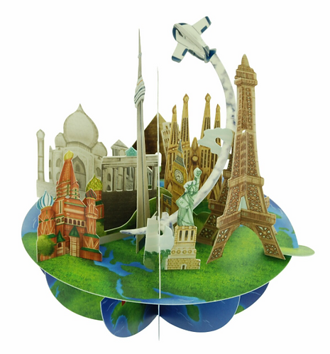 Travel Around the World 3-D Pirouettes Pop-up Card | Santoro London