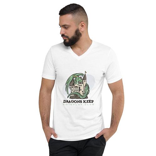 Unisex Short Sleeve V-Neck T-Shirt (Black Text)