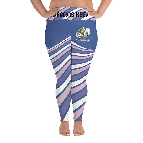 All-Over Print Plus Size Leggings Purple Swirl