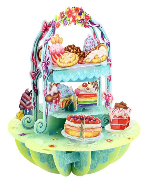 Cake Stand 3-D Pirouettes Pop-Up Card | Santoro London