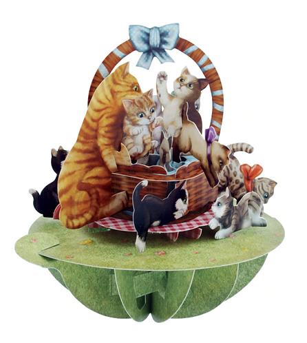 Kittens in a Basket 3-D Pirouettes Pop-Up Card | Santoro London