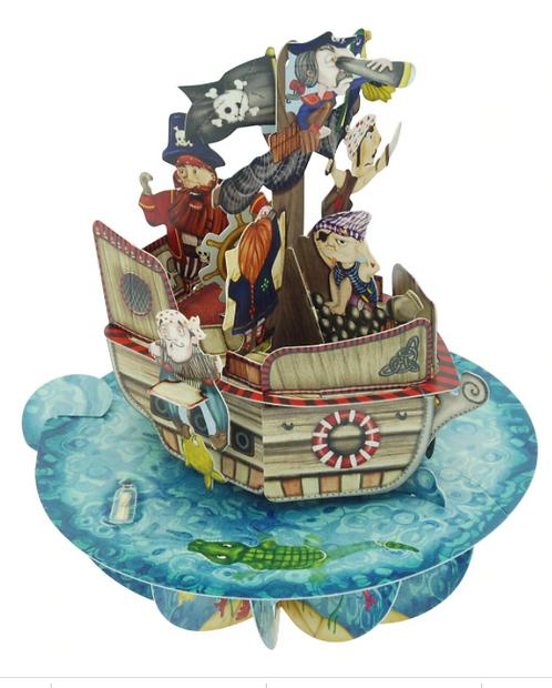 Pirate Ship 3-D Pirouettes Pop-up Card | Santoro London