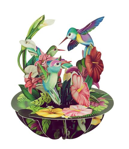 Hummingbirds 3-D Pirouettes Pop-Up Card | Santoro London