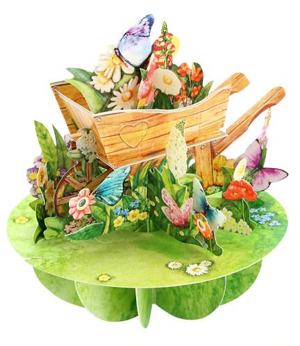 Wheelbarrow of Flowers 3-D Pirouettes Pop-up Card   Santoro London
