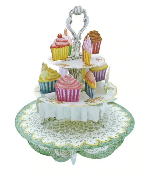Cupcake Tea Time 3-D Pirouettes Pop-up Card | Santoro London