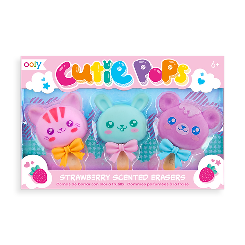 Cutie Pop Strawberry Scented Erasers