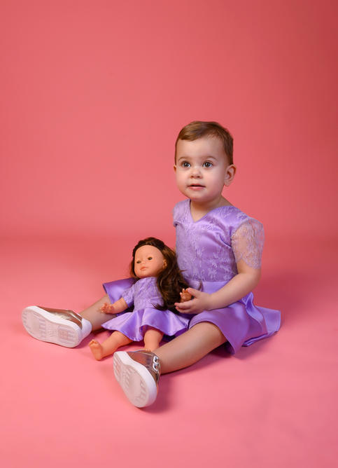 Robe Victoire Violette avec sa Poupée