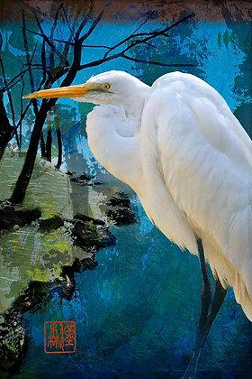 """Eric L Hansen """"White Heron by Stream"""""""