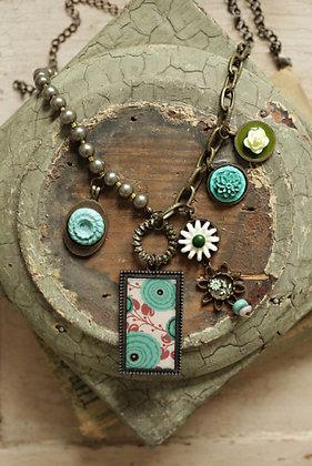 Teal Rose Necklace