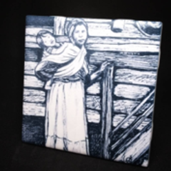 Eastern Band Cherokee woman carrying child image sublimated onto a ceramic tile