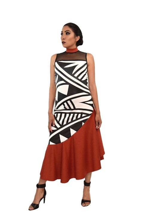 ACONAV RTW 2006 Polychrome Halter Illusion Top Ponte Roma Knit Dress