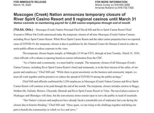 Breaking: Temporary Closure of Muscogee (Creek) Nation Casinos