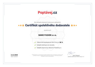 Certifikát od zákazníků Poptávej.cz