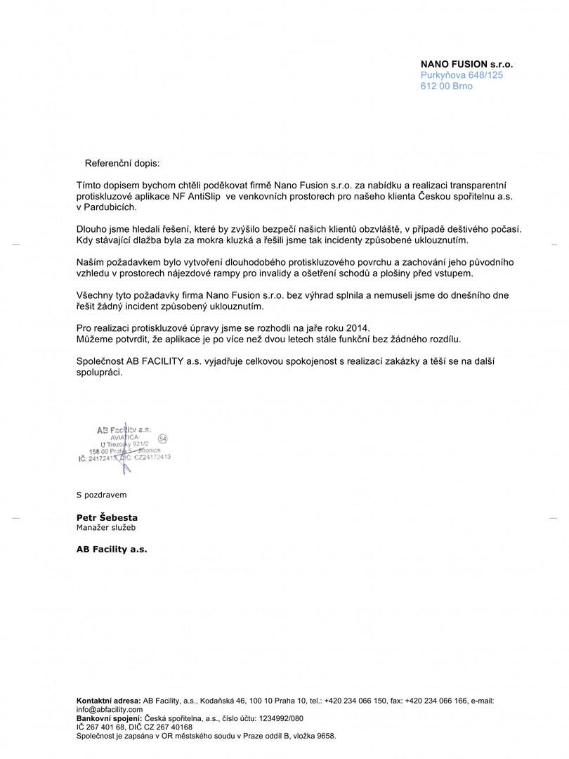 Referenční dopis AB-Facility