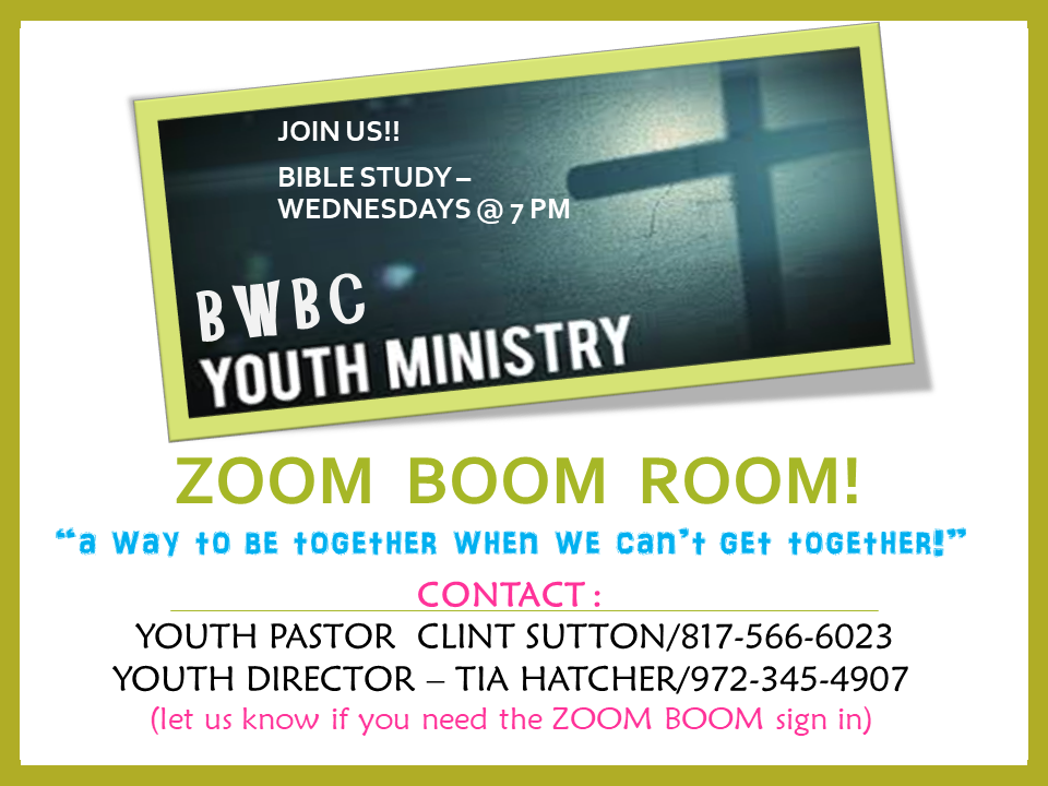 BWBC Youth Zoom Room share