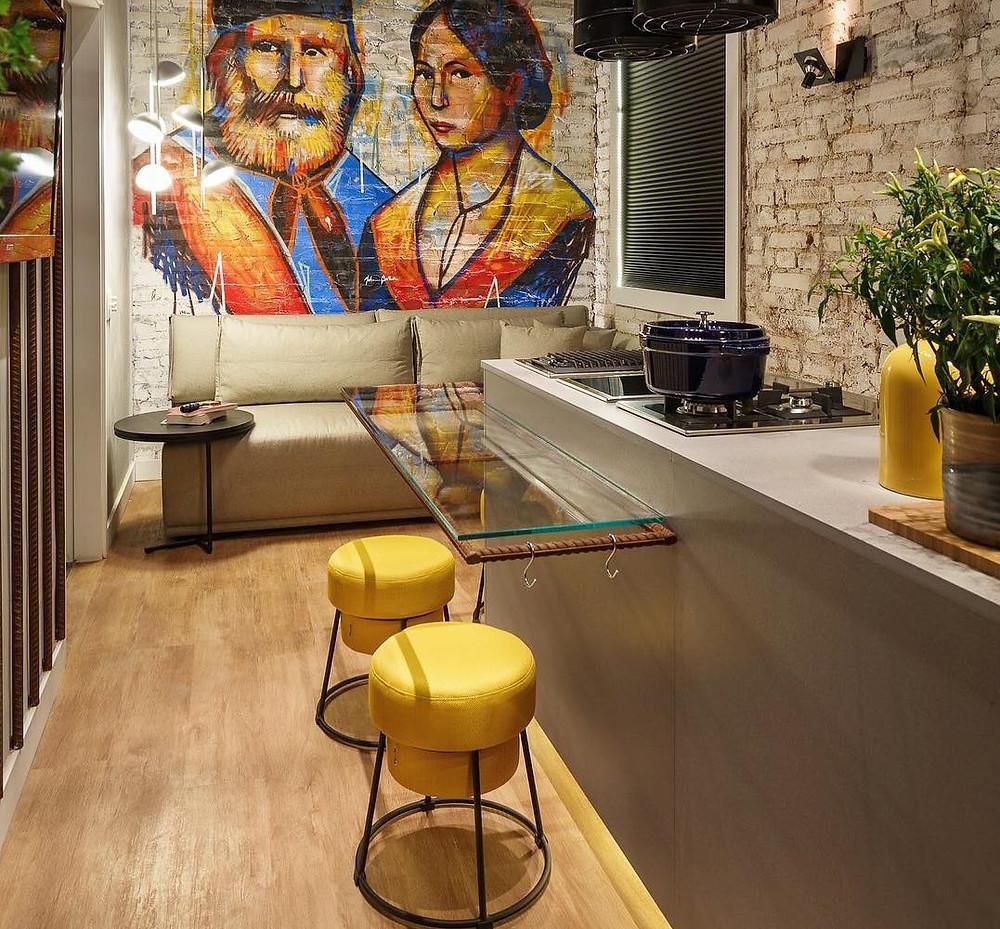 Tambortes Rolha em linho Amarelo da Mittisa na Cozinha Casa Cor 2017