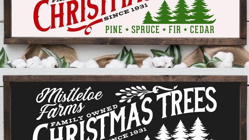 Mistletoe Farms Christmas Trees Print Rustic Christmas Home Decor Farmhouse