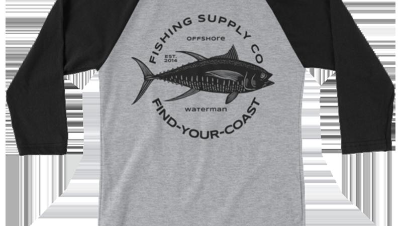 Men's Fishing Supply Co. 3/4 Sleeve Heather Grey/Black Raglan Shirt