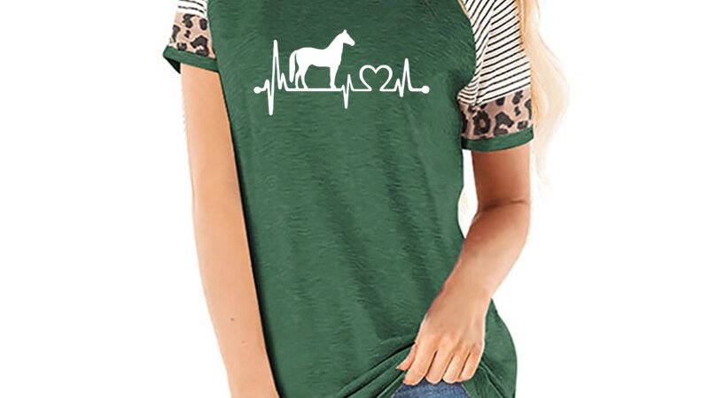 Horse Heartbeat Line Print T Shirt Women O Neck