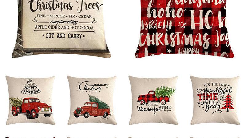 Christmas Car Pillow Cases Cotton Linen Sofa