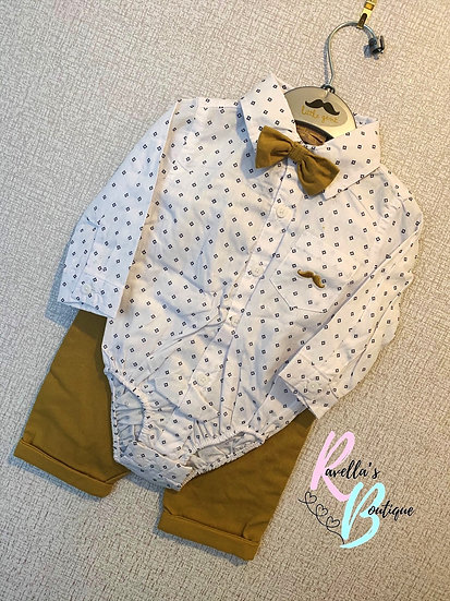 Mustard and White Shirt and Trousers Set